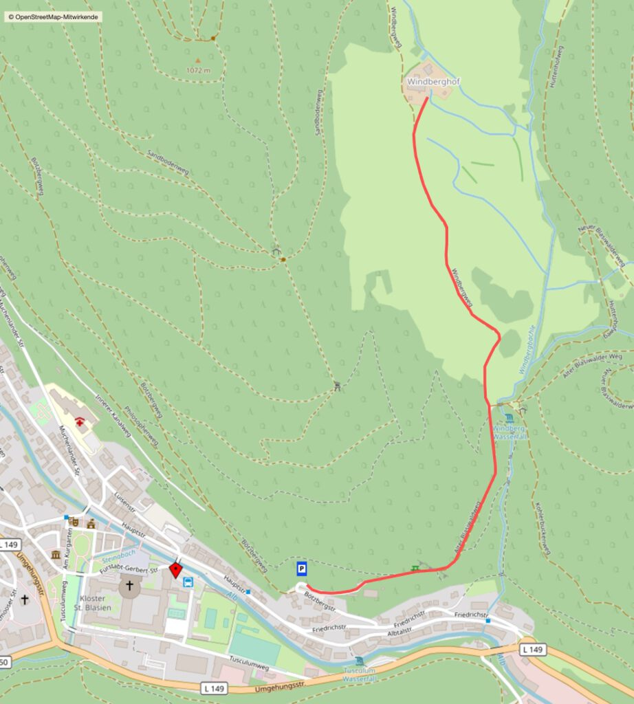 Karte mit Wegverlauf zum Windberghof